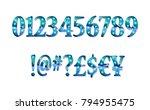 gold glittering metal alphabet  ... | Shutterstock .eps vector #794955475