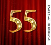 3d number fifty five in gold.... | Shutterstock .eps vector #794955925
