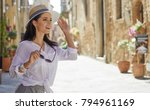 attractive woman tourist with... | Shutterstock . vector #794961169