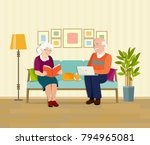 grandmother  grandfather and... | Shutterstock .eps vector #794965081