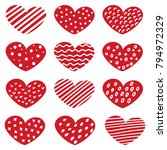 set of hand drawn hearts with... | Shutterstock .eps vector #794972329