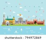 pakistan famous landmarks... | Shutterstock .eps vector #794972869