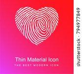 fingerprint heart shape red and ...