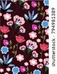 roses and flowers pattern   Shutterstock .eps vector #794981389
