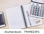 money  coins   calculator and... | Shutterstock . vector #794982391