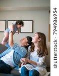 asian sweet family kiss thier... | Shutterstock . vector #794986954