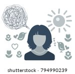 woman  spring  love. confused... | Shutterstock .eps vector #794990239
