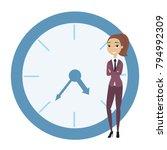 businesswoman leaning on clock...   Shutterstock .eps vector #794992309