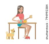 woman having breakfast with dog ... | Shutterstock .eps vector #794992384