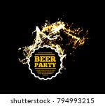 beer party. splash of beer with ... | Shutterstock . vector #794993215