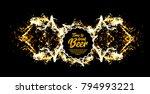 beer party. splash of beer with ... | Shutterstock .eps vector #794993221