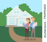 family with house. happy... | Shutterstock .eps vector #794995405