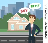 buy or rent. house as real...   Shutterstock .eps vector #794995411