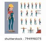 builder character set. woman in ... | Shutterstock .eps vector #794998375