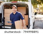 portrait of courier with... | Shutterstock . vector #794998891