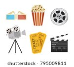 movie icons. realistic style.... | Shutterstock .eps vector #795009811