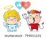 angel and devil. good and bad.... | Shutterstock .eps vector #795011131