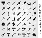 tools vector icons set. saw... | Shutterstock .eps vector #795011335