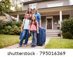 portrait of family with luggage ... | Shutterstock . vector #795016369