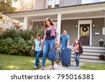 family with luggage leaving... | Shutterstock . vector #795016381