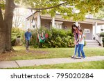 children playing on garden... | Shutterstock . vector #795020284