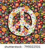 hippie wallpaper with flowers... | Shutterstock .eps vector #795022531