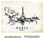 paris illustration. ink and pen ... | Shutterstock .eps vector #795034309