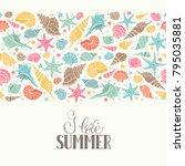 summer time horizontal banner.... | Shutterstock .eps vector #795035881