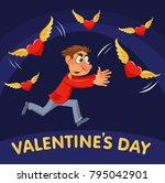 valentines day. cartoon man...   Shutterstock .eps vector #795042901