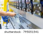 operator working cut and... | Shutterstock . vector #795051541