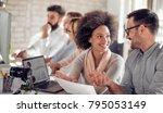 team of young engineers working ...   Shutterstock . vector #795053149