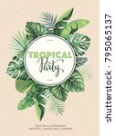 tropical vintage party... | Shutterstock .eps vector #795065137