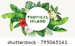 tropical flyer with palm leaves ... | Shutterstock .eps vector #795065161