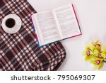 coffee cup open book and woolen ... | Shutterstock . vector #795069307