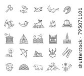 city sights vector icons.... | Shutterstock .eps vector #795071101