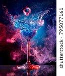 ice cube falling into splashing ... | Shutterstock . vector #795077161