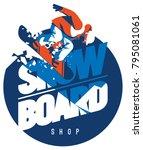 freeride snowboarder in motion. ... | Shutterstock .eps vector #795081061