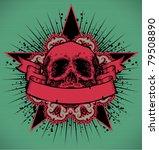 vector engraved skull with...   Shutterstock .eps vector #79508890