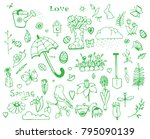 set spring doodles painted in... | Shutterstock .eps vector #795090139