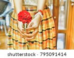 asian girl is holding and... | Shutterstock . vector #795091414
