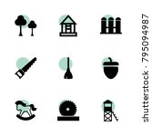 wood icons. vector collection...