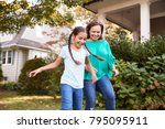 grandmother playing soccer in... | Shutterstock . vector #795095911