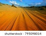car tire tracks in the desert....   Shutterstock . vector #795098014