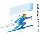 athlete in blue skiing with... | Shutterstock .eps vector #795099769