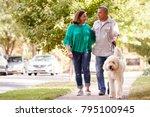 senior couple walking dog along ... | Shutterstock . vector #795100945