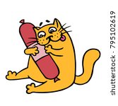 cute cartoon orange cat want...   Shutterstock .eps vector #795102619