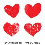 set of grunge hearts.vector... | Shutterstock .eps vector #795107881
