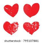 set of grunge hearts.vector... | Shutterstock .eps vector #795107881