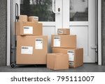 postal cart with delivered... | Shutterstock . vector #795111007