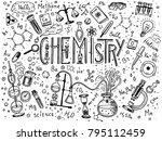 chemistry of icons set.... | Shutterstock .eps vector #795112459